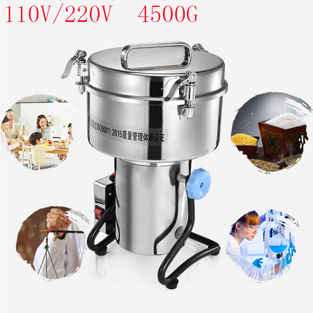 Mill 4500G Swing Type Electric Dry Food Grinder Coffee Grains Pepper Stainless Steel Grinding Powder Crusher