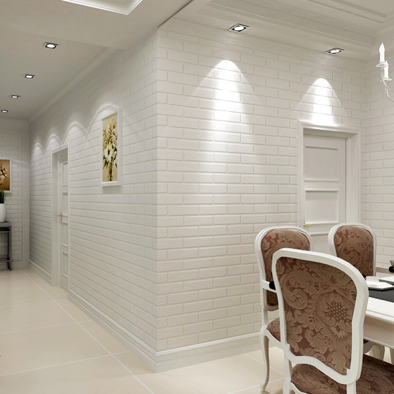 Modern 3d brick wallpaper white thick embossed vinyl covering wall paper roll store living room - Ideas for covering wallpaper ...