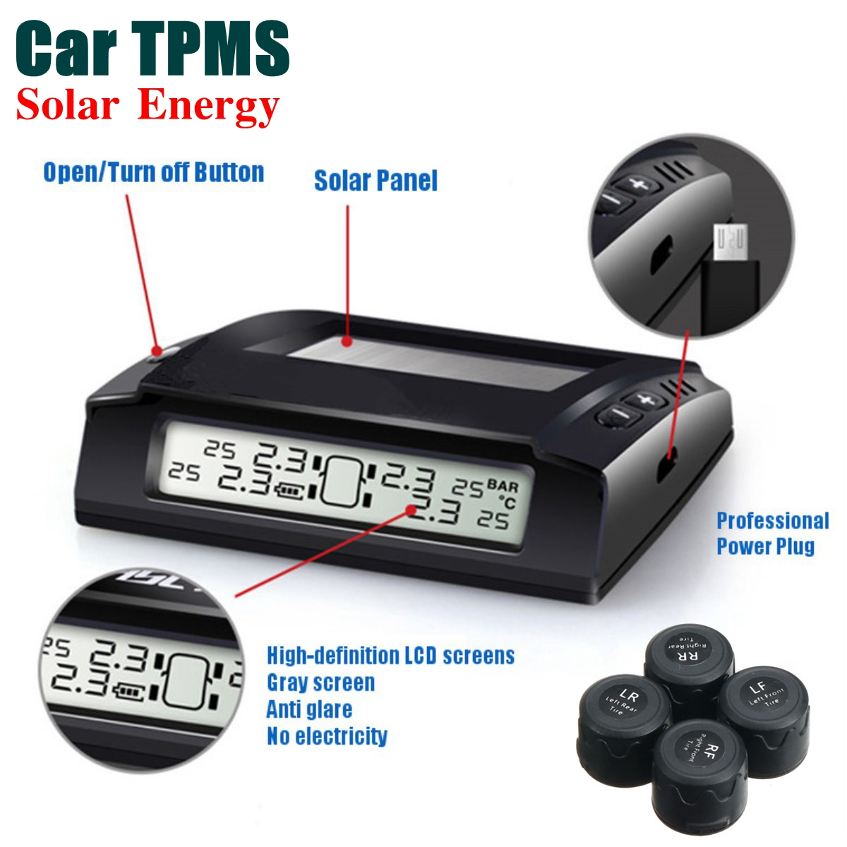 Solar Wireless Car TPMS Tyre Tire Pressure Monitoring System + 4 x External Sensors Digital LCD Display Tire Pressure Alarm tpms tire pressure monitor system car alarm system diagnostic tool wireless solar powered color lcd display