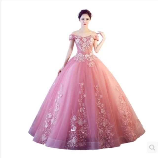 Prom Dress Customized Plus Size Pink Party Prom Dresses V neck Floor Length Appliques Embroidery 2017 Elegant Vestido De Festa