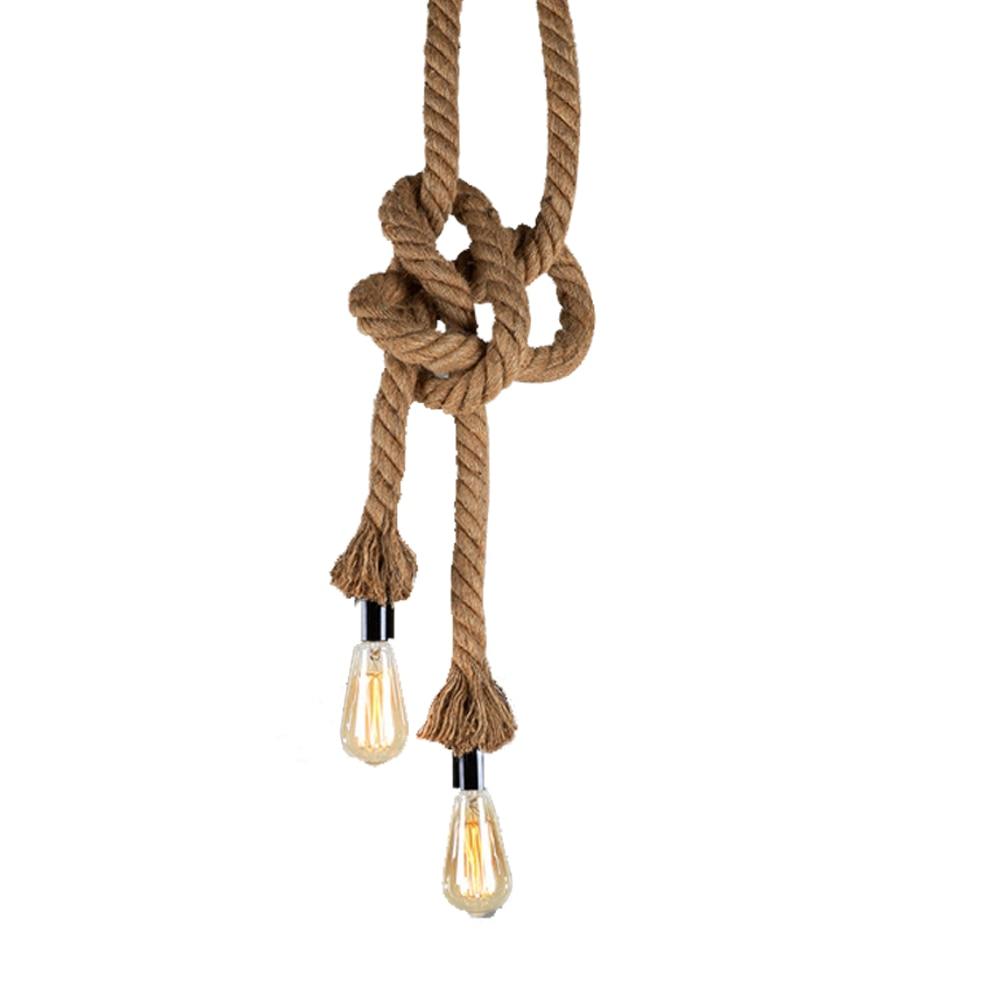 Retro Rope Pendant Lights Vintage Art Deco Restaurant lamp Industrial Halling Loft hemp rope E27 Hand Knitted Hemp Rope Light