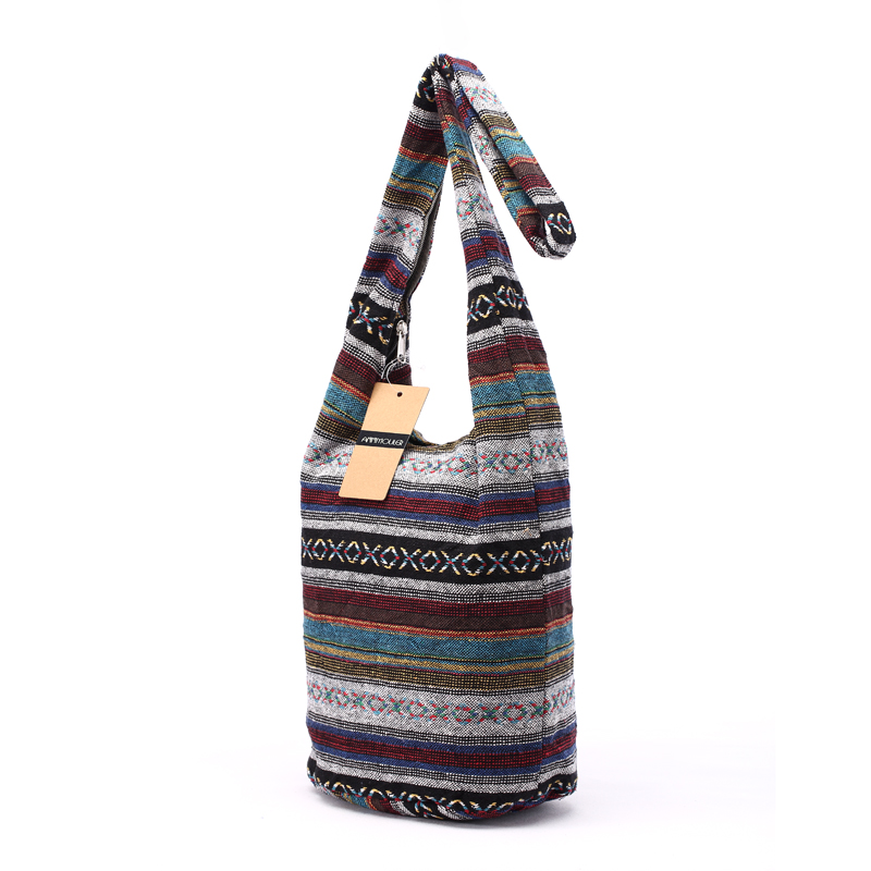 Women Vintage Shoulder Bag Mochila Retro Weave Fabric Messenger Bag Bohemian Style Hippie Aztec Folk Tribal Crossbody Bag