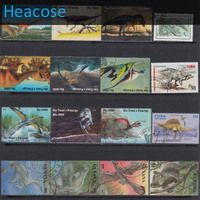 50 Pieces Dinosaur All Different Postage Stamps Used Brands Label Selos Marca Carimbo Franqueo Marca Matasellos
