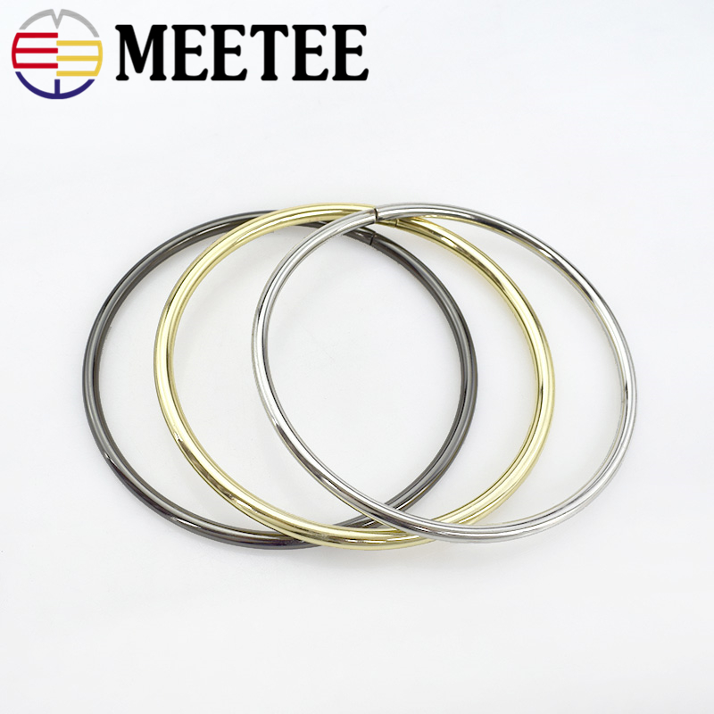 2Pcs Meetee 10cm Thick 5mm Metal O Ring Bags Frame Purse Handle for Luggage Hardware Accessories Buckles DIY Crafts F1-77