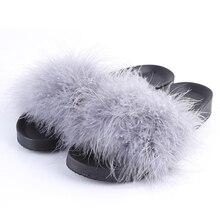 Women Furry Slippers Lady Chicken Hair Fluffy Slippers Summer Beach Fashion Sliders Flip Flops Sexy Woman Shoes Lady Footwear