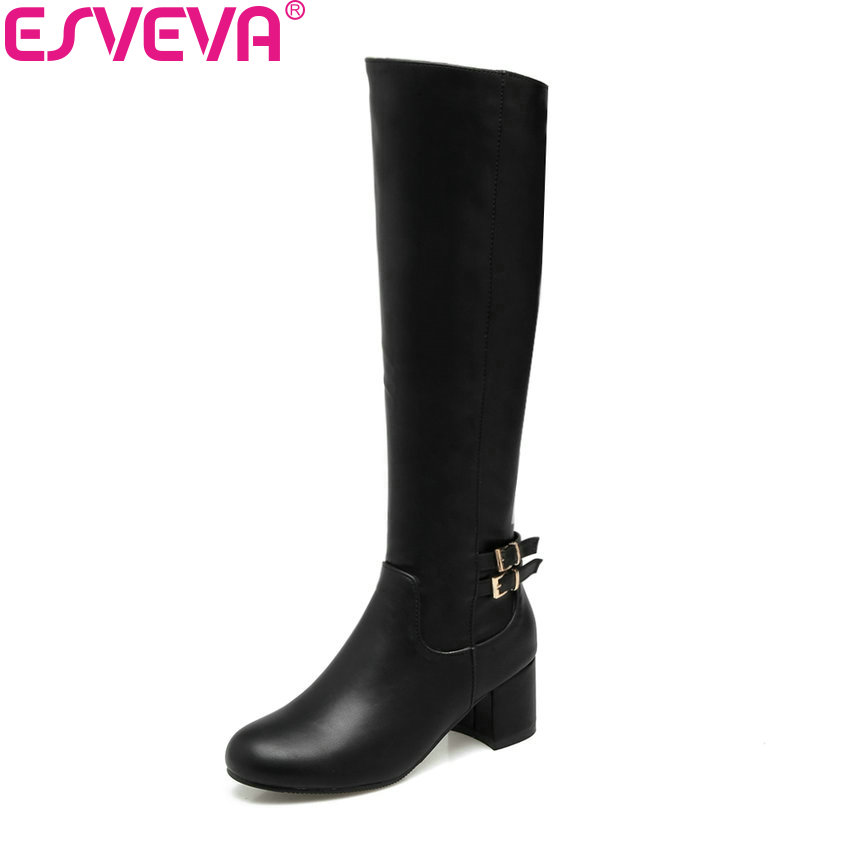 ESVEVA 2018 Women Boots Square Heels Appointment Warm Fur High Heel Knee-high Boots Slip on Out Door Ladies Boots Size 34-43 esveva 2018 women boots zippers square high heels appointment warm fur pointed toe ankle boots chunky ladies shoes size 34 39