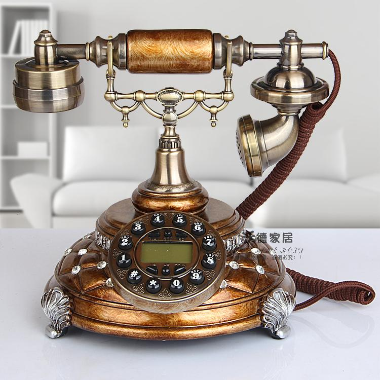 The new European antique landline retro fashion white brick phone telephone Decoration home art rustic household corded phone in Figurines Miniatures from Home Garden