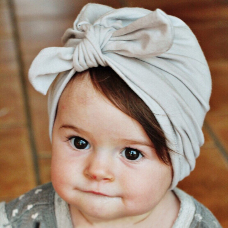 New Baby Hats Rabbit Ears Beanie Hat Lovely BowKnot Cotton Turban Caps Spring Children Kids Headwear Hair Accessories 1-6Y