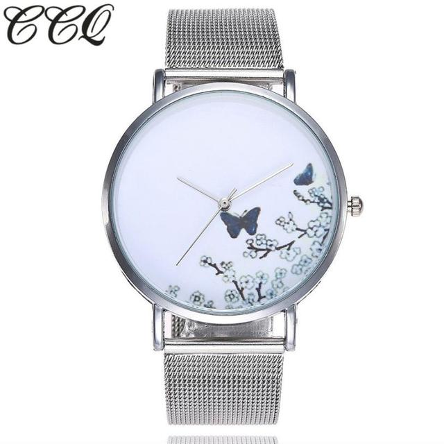 CCQ Casual Quartz Stainless Steel Band Marble Strap Watch Analog Wrist Watch lad
