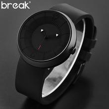 Break Top Men's Women Unisex Fashion Casual Sport Quartz Wristwatch Creative Black Rubber Strap Watches Water Resistant for Men
