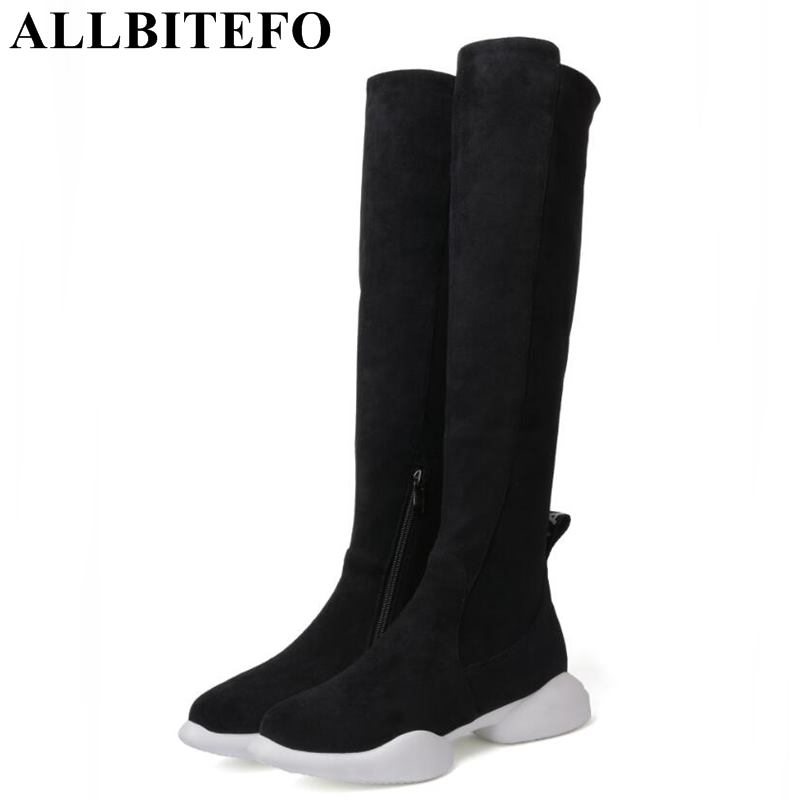 ALLBITEFO fashion soft flock flat heel platform women boots girls over the knee boots Autumn winter thigh high long boots shoes