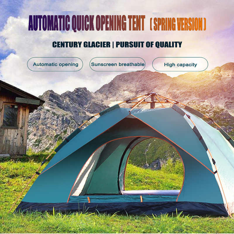 4 Person Outdoor Camping Tent Large Family Automatic 2 Man Easy Up Pop Camp Spring Tents Double Layer Waterproof Shade