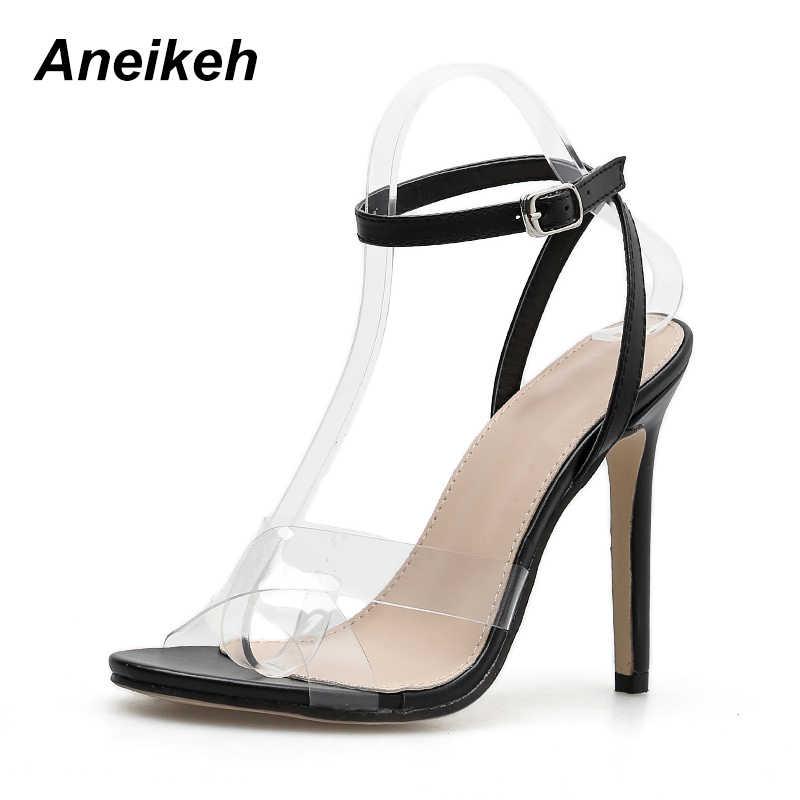 ... Aneikeh Summer Clear Sandals Women Transparent High Heels PVC Cross  Stilettos Ankle Strap Perspex Heeled Western ... ed3cec05ef12