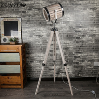 American Industrial Retro LOFT Floor Lamp Bar Office Living Room Bedroom Bedside Lamp Tripod Wooden Home Decor Led Standing Lamp