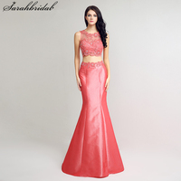 Sexy Ever Pretty Lace Evening Dresses With Mermaid jewel Zipper Two Pieces Dress Floor Length Taffeta Crystal Gown LSX239