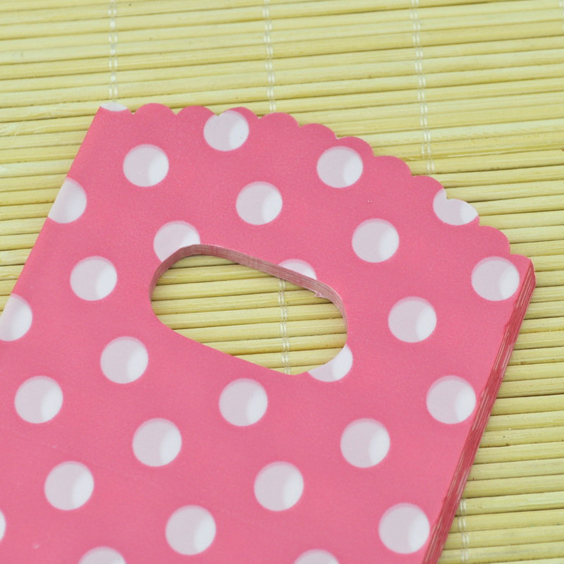 100pcs 9x15cm Small Plastic Gift Bags Pouches For Jewelry Boutique Pink Dots Cut Handle In Wring Supplies From Home