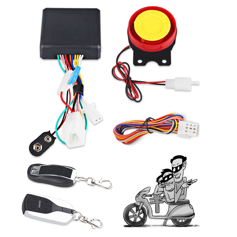 Motorcycle Scooter Alarm System Anti-line Cut Anti-theft 12V Moto Security Alarm Remote Control Engine Start 125db Speaker Wire