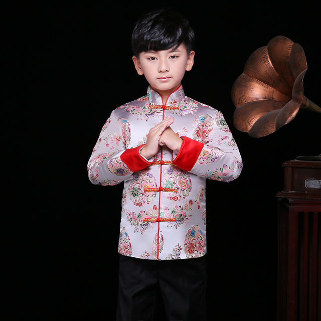 55334257 Children Winter Jacket Suit Boys Chinese New Year Traditional Dress Kids  Cheongsam Top Satin Qipao Embroidery