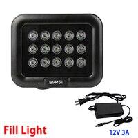 12V 3A Black Metal Waterproof Outdoor Surveillance 15pcs 42mil Array leds Infrared Night Vision IR illuminator Lamp FreeShipping