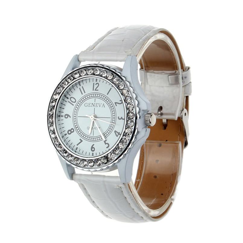Excellent Quality New Fashion Watch Gilt Quartz Casual Leather Geneva Crystal Dial Clock Women Dress Cartoon Wristwatch Hot