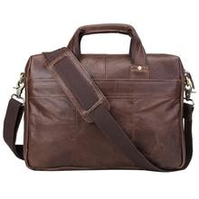100% Genuine Leather Men Bag Brand Designer Men Briefcase Crazy Horse Leather Laptop Briefcase Business Bag Men Shoulder Bag