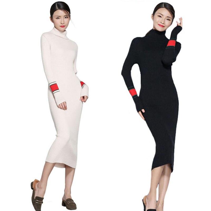 Pull Long robe femmes pull tricoté col roulé cachemire robe élastique chaud Slim hiver pull robe laine épaisse 2018 nouveau