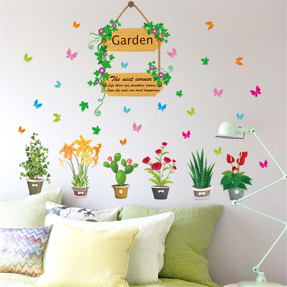 Removable vinyl garden potted flower wall stickers for - Decoracion de paredes con vinilos ...