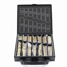 Бесплатная доставка Железный Ящик упаковка 99 ШТ. HSS Сверл Биты 1.5-10 мм Titanium Coated Surface 118 степень Для Сверления Металла