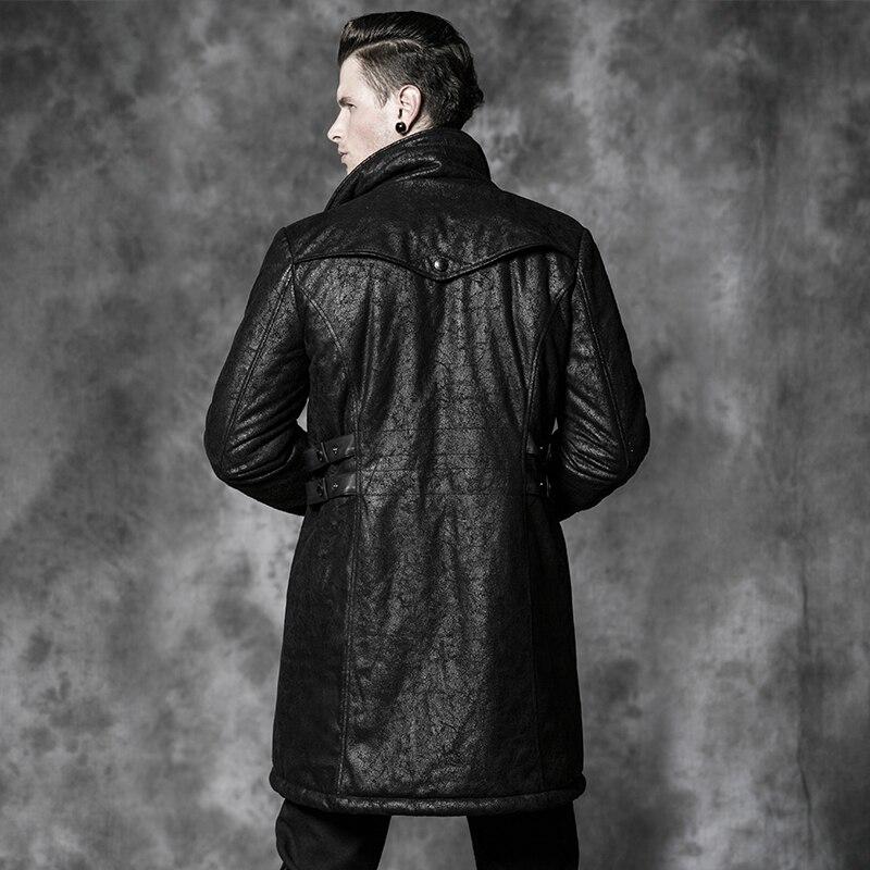 Gothic Punk Black Crack Texture Leather Warrior Winter Coats Men ...