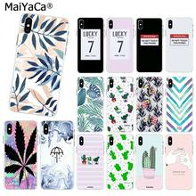 MaiYaCa Candy Color Art Leaf Print Phone Case for iPhone X 4 5 6 7 8 S Plus Cactus Plants Fashion Soft TPU Rubber Silicon XS MAX(China)