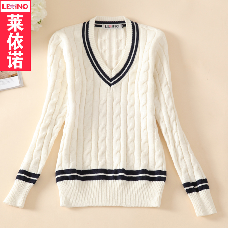 Brand LEHNO Girls School Uniforms Sweater V-neck Preppy Style Knit Sweaters  Thick Uniform Top Sailor Fashion Outerwear 7865bd09e