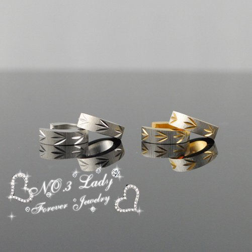 GOKADIMA bijioux Fashion Stainless Steel Mens Leaves 2013 Hoop Earrings For Cow Boy, Biker, Rocker, Huggie, Wholesale