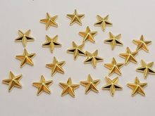 200pcs Gold Tone Acrylic Star Studs 14mm No Hole Cell Phone Deco Decorative Jewelry Accessories(China)