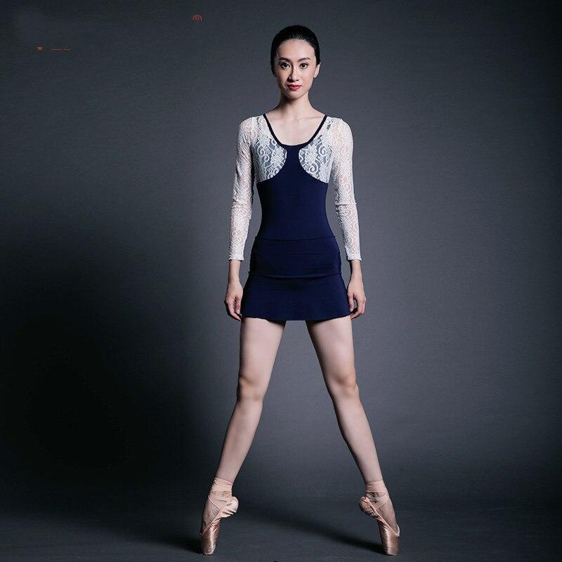 Ballet danse justaucorps et jupe costume dentelle manches backlessTwinset manches longues gymnastique artistique servir dentelle Yoga pratique