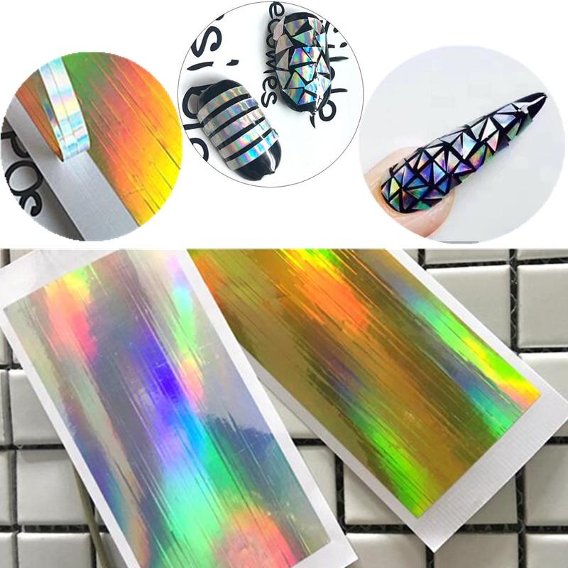 Gold Striping Tape Nail Art: 2 Sheet Nail Art Stickers Laser Silver Gold Stripe Line
