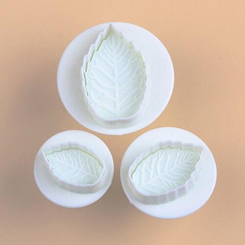 【ᗑ】Новый 3 шт. торт Xmas листьев поршень помадка украшения ...