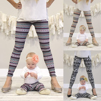 2017 Matching Mother Daughter Clothes Fashion Leggings Floral Elastic Pants Baby Girls Women Christmas Family Matching