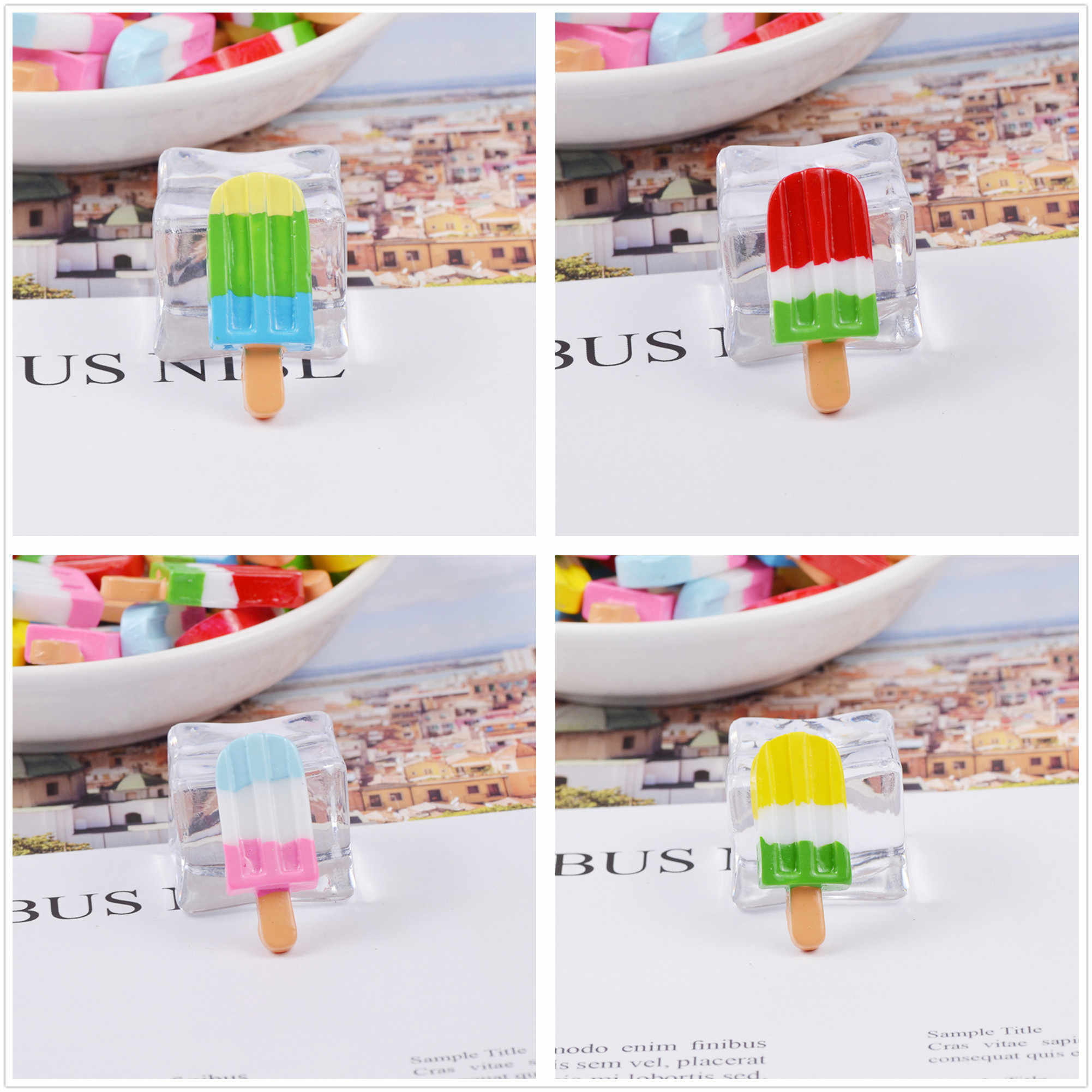 6 cái/lốc Dễ Thương Nhà Búp Bê Thu Nhỏ Cầu Vồng Ice Cream Bar Thực Phẩm Nhà Búp Bê Búp Bê Mini Mô Phỏng Chơi Thực Phẩm