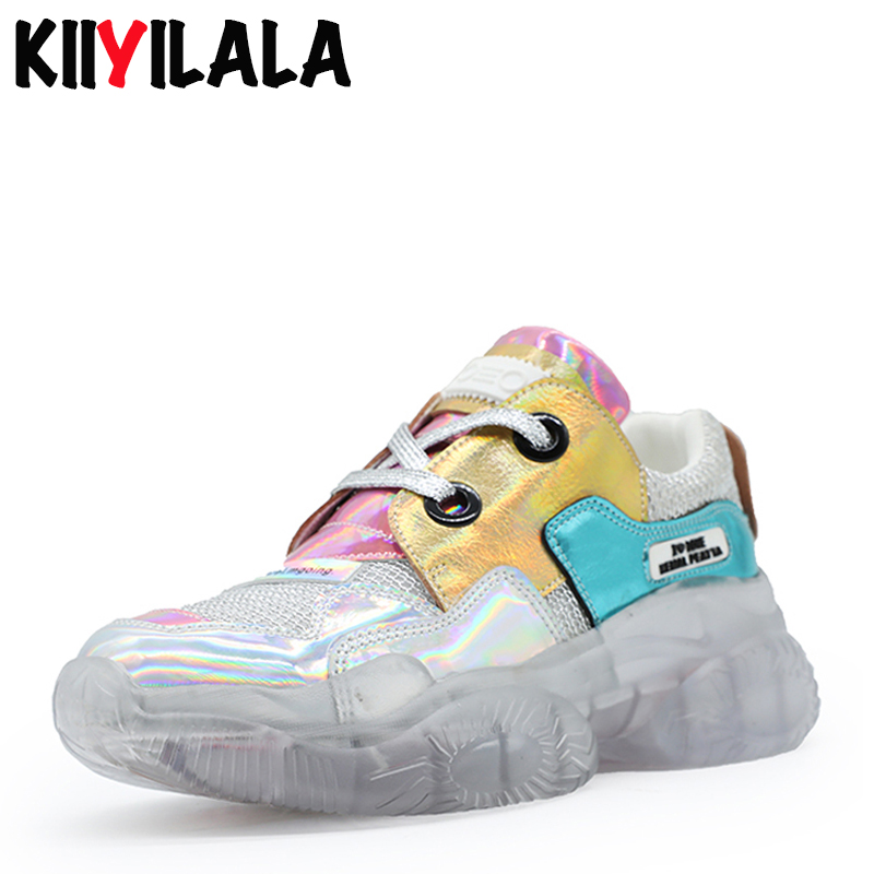 Kiiyilala Genuine Leather Crystal Bottom Women Sneakers Lace-up Height Increasing Ankle Boots Shoes For Bling Woman