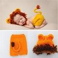 Handmade acessórios Da Foto das meninas Adereços fotografia bebê recém-nascido adereços fotografia bebê Malha Chapéu de Crochê Traje Do Leão Animais