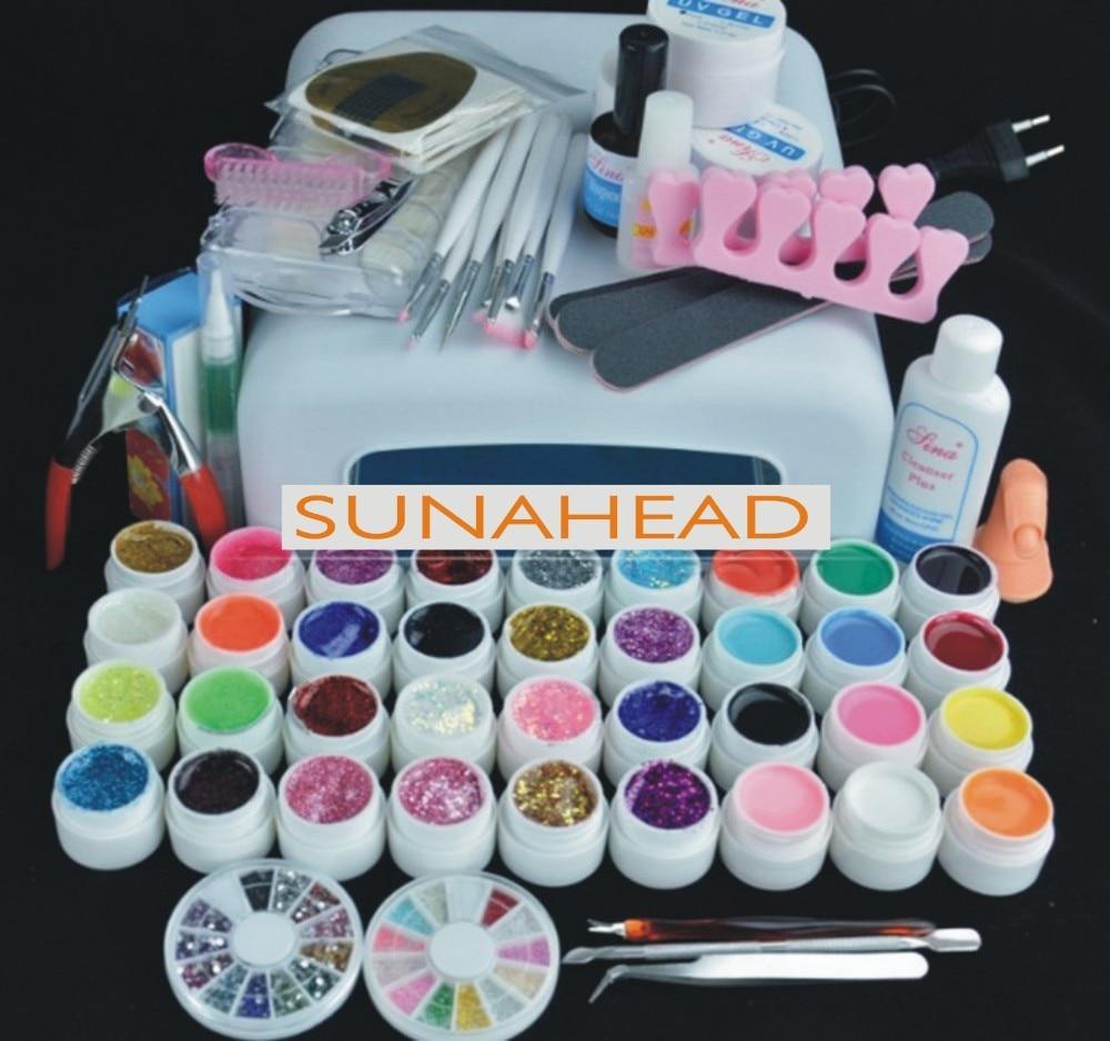 Pro NAIL ART BASE TOOL 36W UV Lamp & 36 Color  UV builder GEL soak off Gel nail base gel top coat gel nail polish kit Manicure S devilbiss gti pro base купить детали