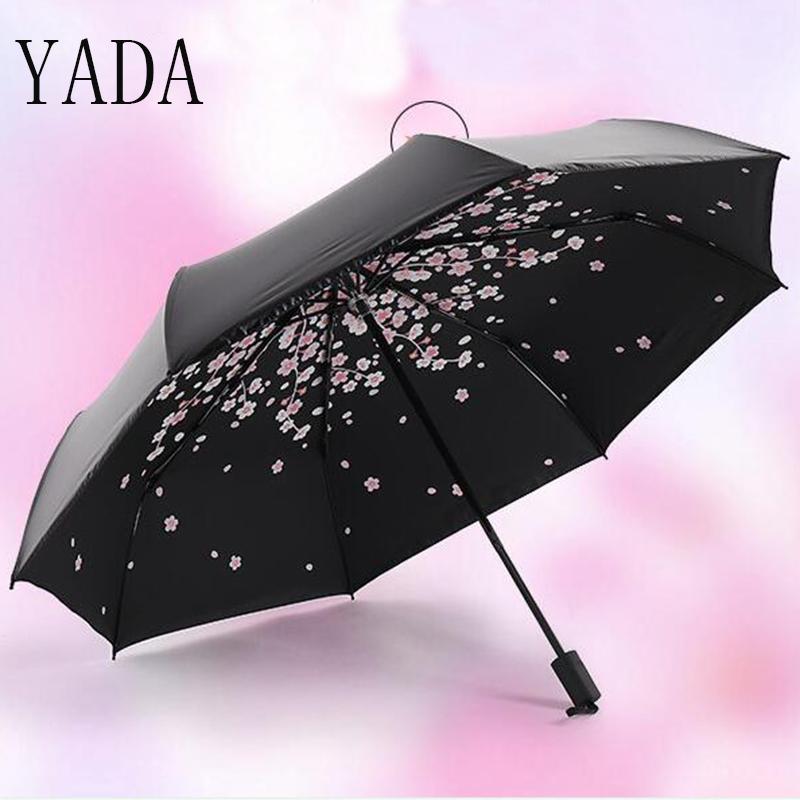 YADA Black Cherry blossoms Charm Folding Umbrella Rain Women uv High Quality Umbrella For Women brand Windproof Umbrellas YS135