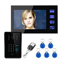 "Free Shipping!Ennio Touch Key 7"" TFT RFID Password Video Door Phone Intercom System 1000 TV Line Remote Access Control System"
