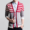 New Men Sweater 2017 Autumn/Winter Male Sweater Fashion Stripe Men's Cardigan Knitted Sweater Single Breasted Men's Outerwear