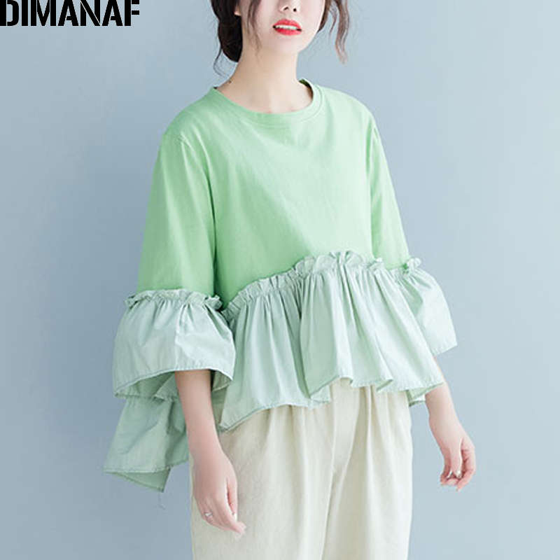 DIMANAF Plus Size Women Blouse Shirts Lady Tops Tunic Cotton Summer Pleated Ruffles Loose Casual Female Clothes Solid Green 2019