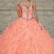 SexeMara Peach Color Quinceanera Ball Gown Ruffles dresses