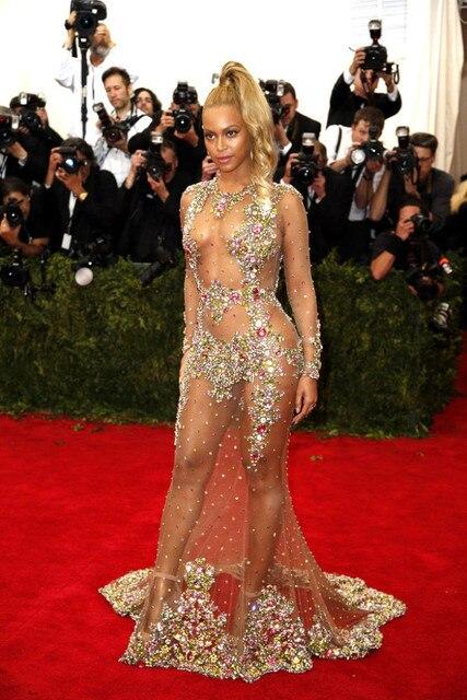 Beyonce Gala Cristais Lace Backless Da Sereia Da Celebridade Vestidos Do Tapete Vermelho 2017 Manga Comprida Sheer Prom abendkleider
