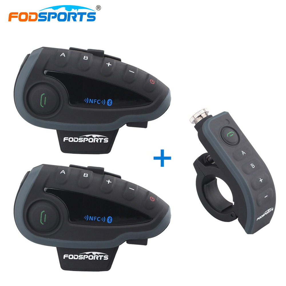 Fodsports 2*V8 Intercom + 1*Remote Controller Motorcycle Helmet Headset Bluetooth Intercom with FM NFC for 5 Riders Interphone motorcycle bluetooth helmet intercom v6 stereo headset 6 riders windproof waterproof intercom motocycle skiing concert 2pcs lot