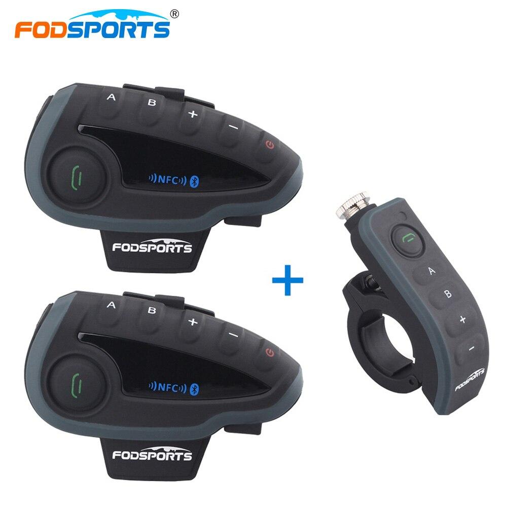 Fodsports 2 * V8 Interphone + 1 * Télécommande Moto Casque Casque Bluetooth Interphone avec FM NFC pour 5 coureurs Interphone