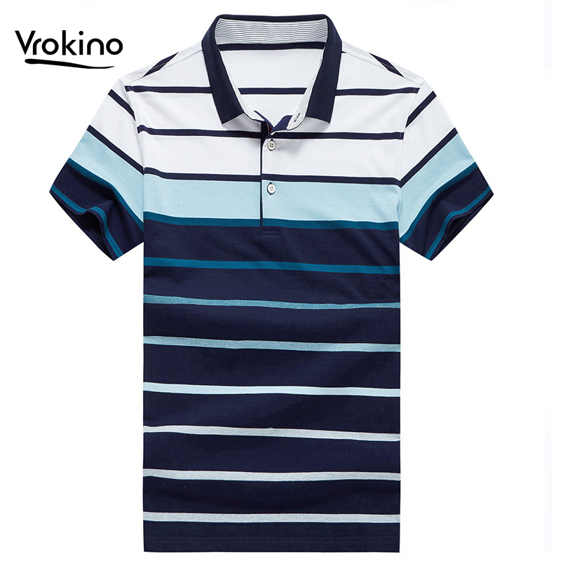 Men's Striped POLO Shirt 2019 Business Casual Summer Men's Breathable Cotton Short-sleeved Polo Shirt Large Size M-4XL